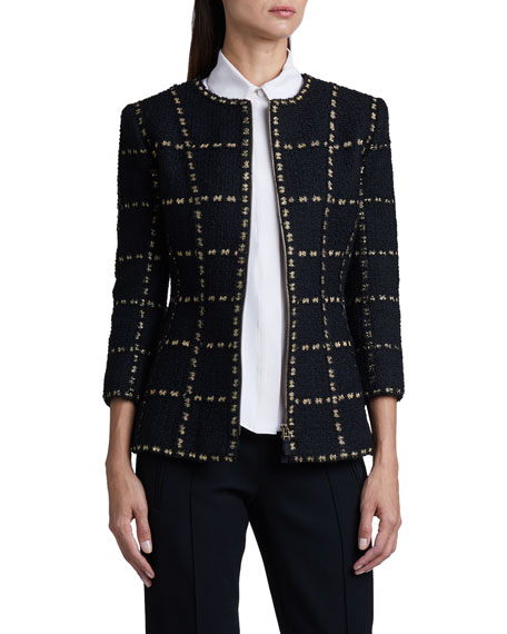 Andrew Gn Lattice-Print Woven Bracelet-Sleeve Jacket