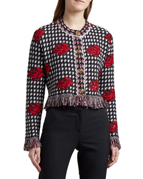 Versace Wool Fringe-Hem Cardigan