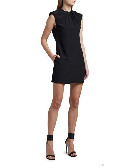 Versace Ruched-Neck Belted Mini Dress