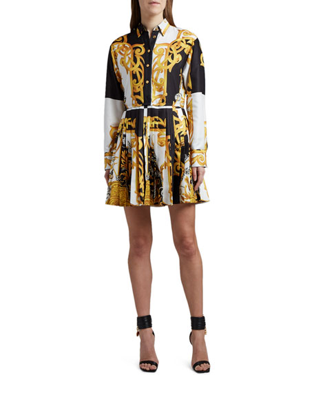 Versace Baroque-Print Pleated Shirtdress