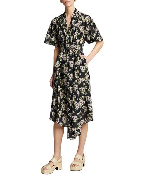Adam Lippes Floral Print Cotton-Silk Asymmetric Dress