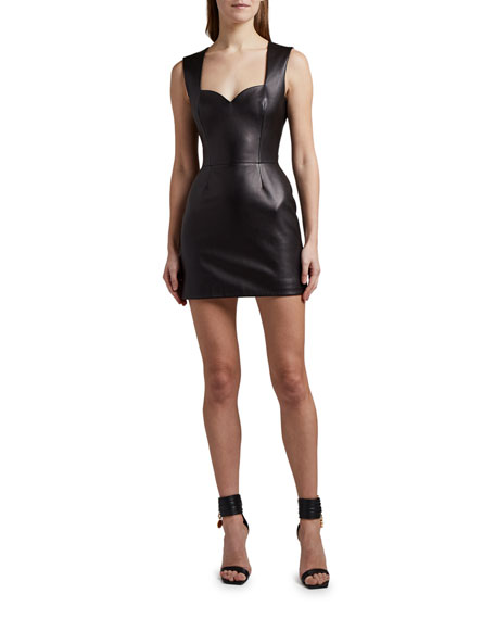 Versace Leather Sweetheart-Neck Mini Dress
