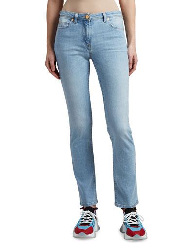 Mid-Rise Straight-Leg Jeans