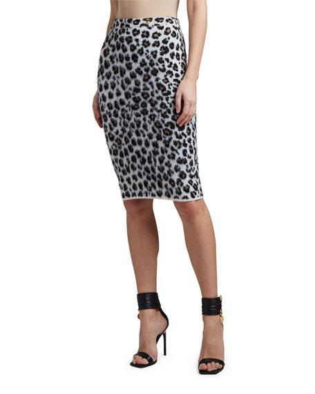 Versace Leopard-Print Pencil Skirt