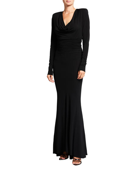 Alexandre Vauthier Draped Jersey Cowl-Neck Gown