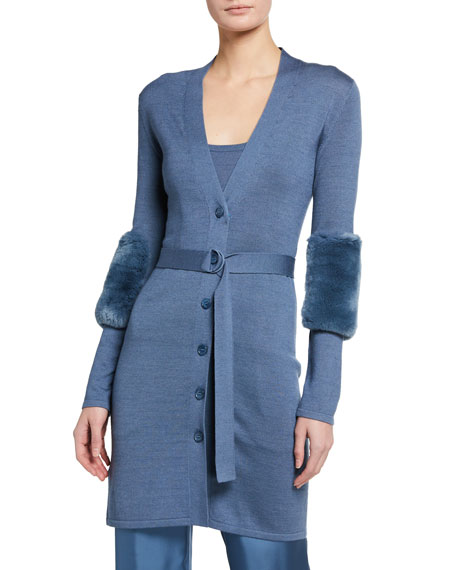 LAPOINTE Merino Silk Cashmere Long Cardigan w/ Rabbit Fur