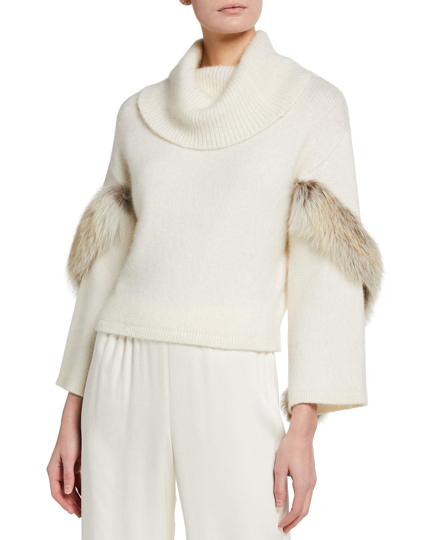 Airy Cashmere Cowl-Neck Sweater w/ Fox Fur Trim