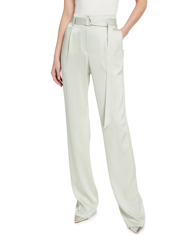 Stretch Crinkle Satin High-Waist Belt Pants