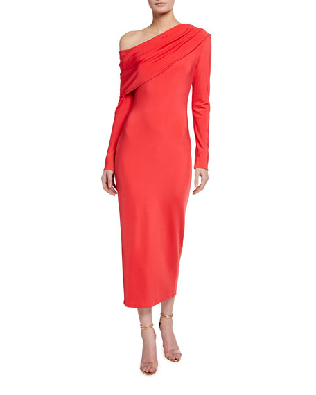 LAPOINTE Slinky Jersey Cowl-Neck Fitted Dress