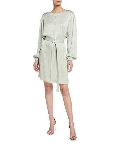 LAPOINTE Stretch Crinkle Satin Belted Pintuck Dress