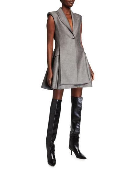 Brandon Maxwell Herringbone Wool Mini Vest Dress