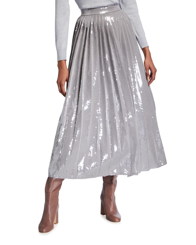 Sequined Pleated Tea-Length Skirt