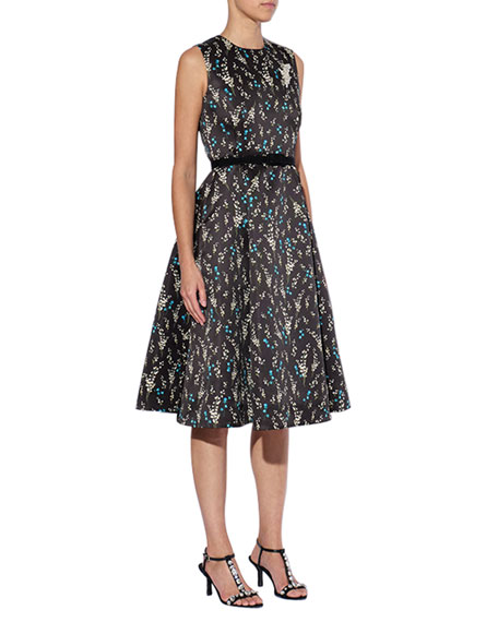 Erdem Floral Mikado Fit & Flare Dress