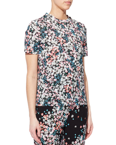 Erdem Floral Print Short-Sleeve Cotton T-Shirt