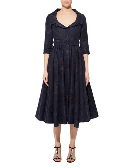 Erdem Brocade Belled Belted Midi Dress