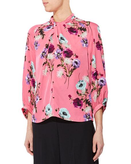 Erdem Floral Print Twisted Jersey 3/4-Sleeve Top