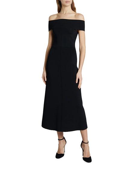Victoria Beckham Bardot Crepe Midi Dress