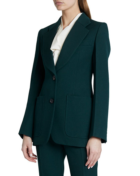 Victoria Beckham Patch Pocket Fitted Wool Jacket