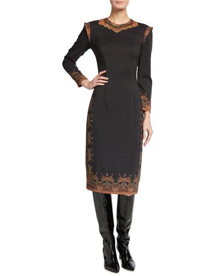Etro Wool Crepe Paisley-Print Dress