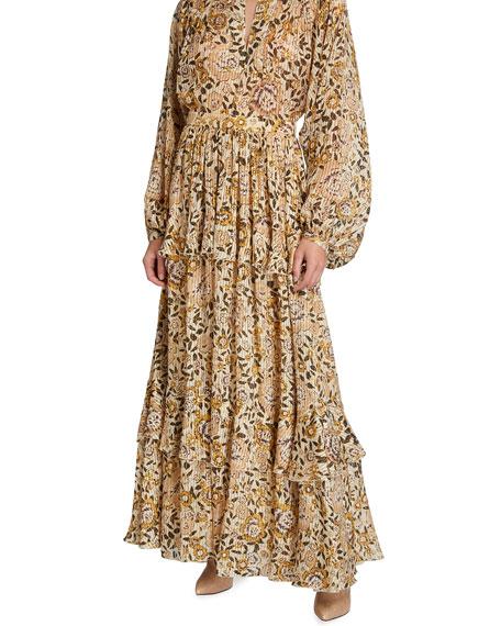 Etro Floral Tonal-Stripe Metallic Georgette Skirt
