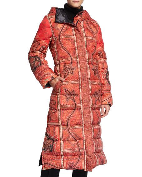 Etro Long Paisley Puffer Coat