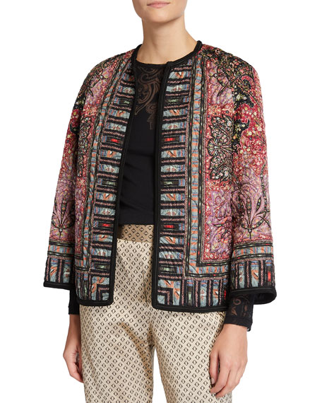 Etro Paisley-Print Quilted Jacket with Corded Trim