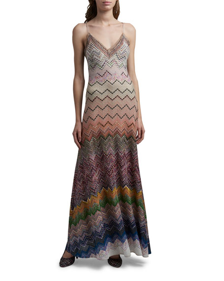 Missoni Zigzag Optical Knit Maxi Dress