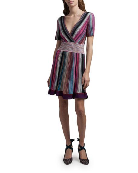 Missoni Striped Short-Sleeve V-Neck Dress