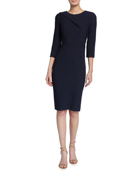 Roland Mouret Hisley 3/4-Sleeve Crepe Dress