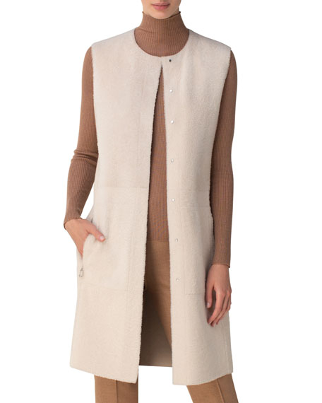Akris Shearling Snap-Front Reversible Vest