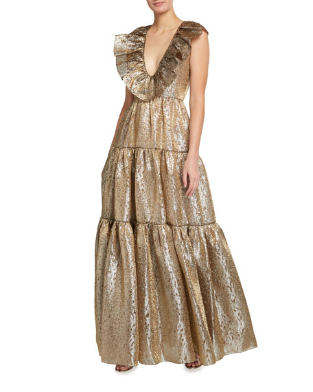 Halpern Metallic Organza V-Neck Ruffled Tiered Gown