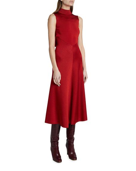 Victoria Beckham Satin Mock-Neck Open Back Dress