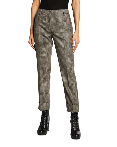 Akris Maxima Plaid Wool Cuffed Pants