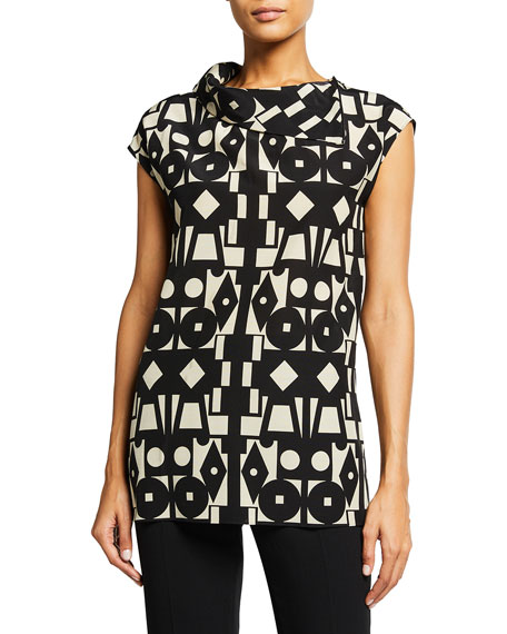 Akris Deco Print High-Neck Tunic