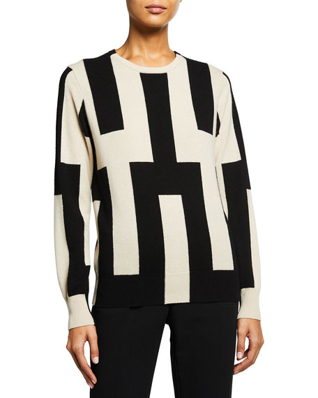 Akris Abstract-Print Cashmere Sweater