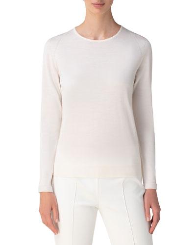 Cashmere Silk Long Sleeve Sweater | Neiman Marcus