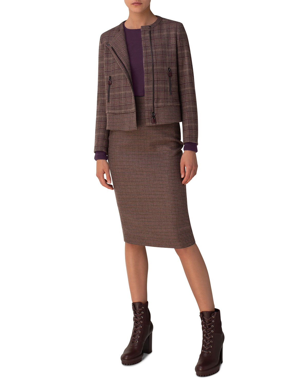 Asymmetric Houndstooth Print Cashmere Jacket