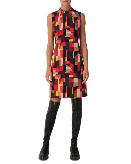 Akris Funnel-Neck Geometric Sheath Dress