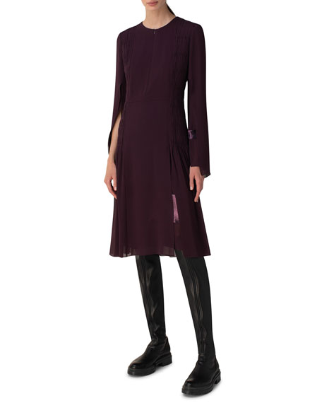 Akris Ruched Silk Bell-Sleeve Zip-Front Dress
