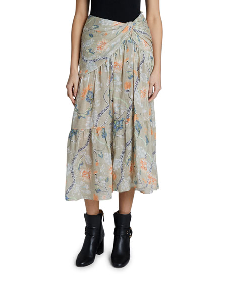 Chloe Flower Print Ramie Skirt