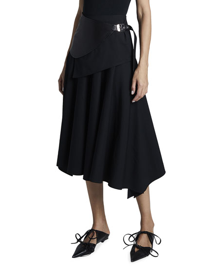 Proenza Schouler Leather-Belted Wool Skirt
