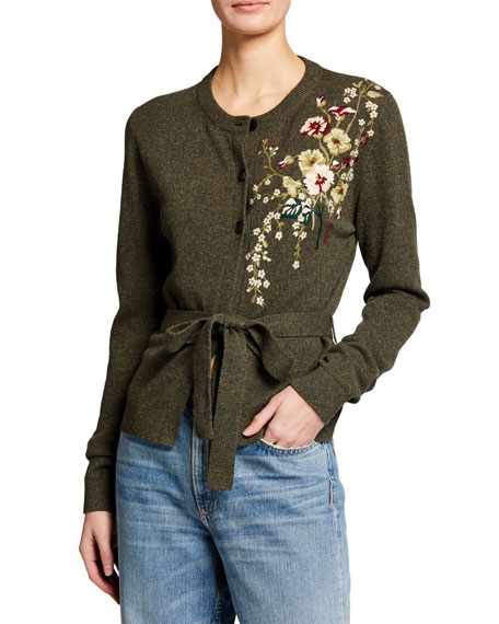 Brock Collection Wool-Cashmere Embroidered Belted Sweater