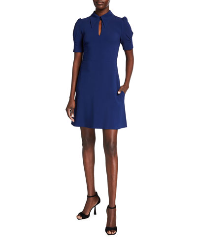 Blair Keyhole Puff-Sleeve Dress