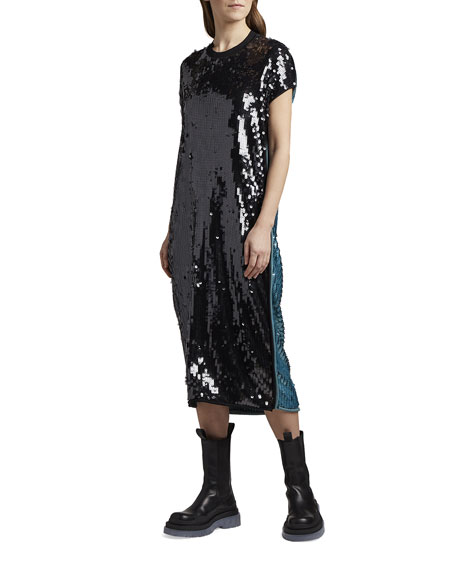 Bottega Veneta Two-Tone Sequined Oversized T-Shirt Dress