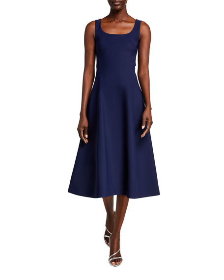 Adam Lippes Neoprene Scoop-Neck Flare Dress