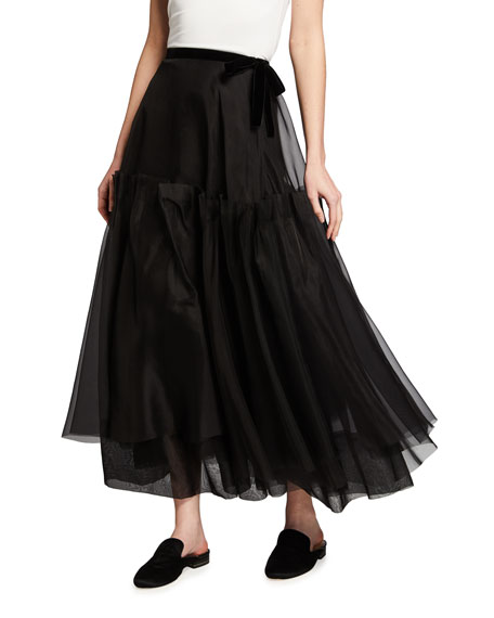 Brock Collection Tiered Silk-Chiffon Midi Skirt