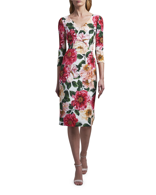 Dolce & Gabbana V-NECK FLORAL-PRINT DRESS