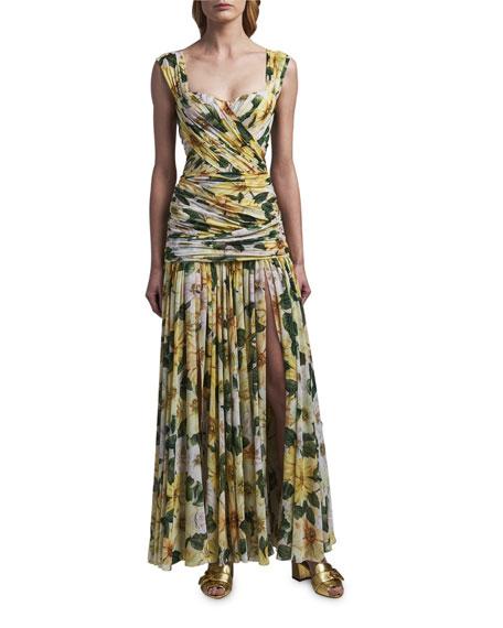 Dolce & Gabbana Floral Print Ruched Silk Dress