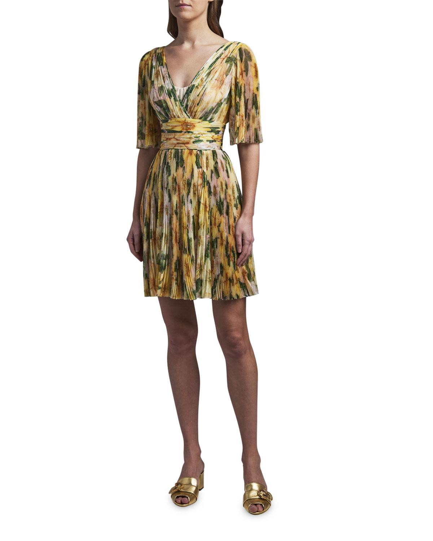 Dolce & Gabbana FLORAL PRINT SILK V-NECK DRESS