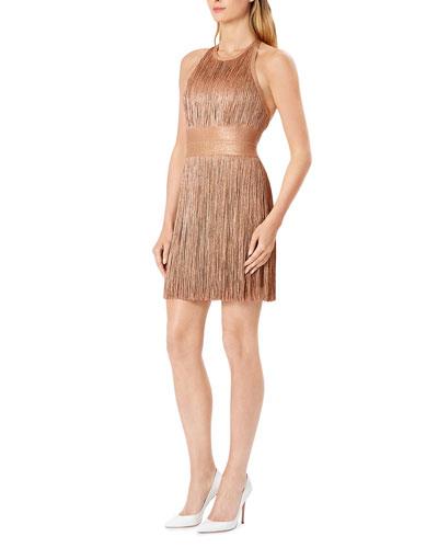 High-Neck Foiled Fringe Mini Dress
